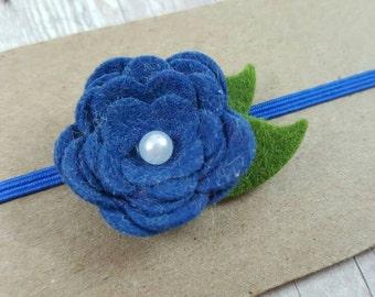 Blue Baby Headband/ Blue Flower Headband/ Blue Felt Flower/ Dainty Headband/ Felt Baby Headband/ Blue Headband/ Baby Flower Headband
