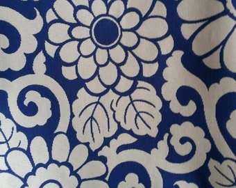 Plum Blossom - Navy - P Kaufmann Fabric - REVERSIBLE - Sold by the Yard - 100% Cotton