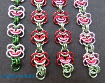 Large Rosettes of Eurpean 4-in-1 pattern chainmaille bracelet