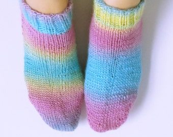 Hand Knitted Acrylic Socks for Women. Low Cut. Size 9.