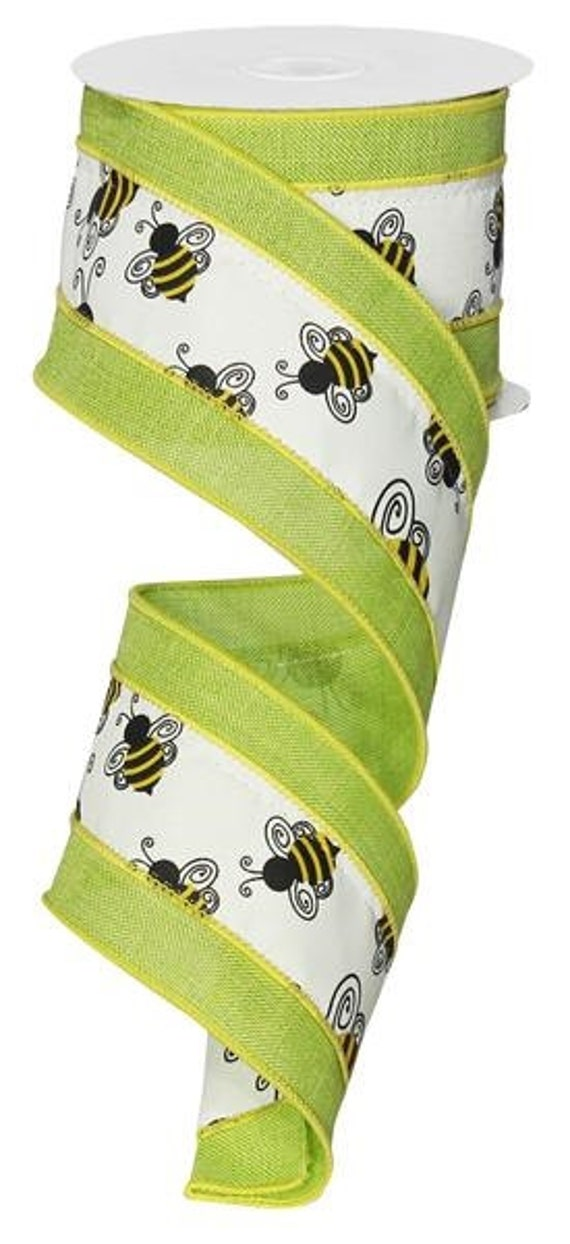 2 5 Bumble Bee Green Border Ribbon Green Bumble Bee