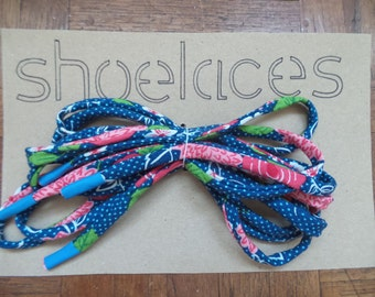Handmade Shoelaces - Navy and pink flowers