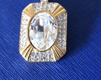 Vintage Carolee Rhinestone Goldtone Art Deco drop pendant