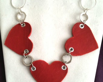 Red Heart leather Necklace - Made from recycled materials