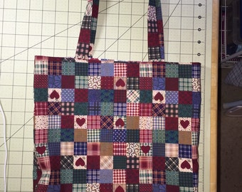 Hearts and Squares reversible tote