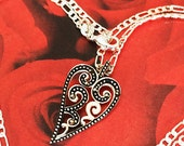 "Beautiful Vintage Sterling Silver Marcasite Heart Pendant on 24"" Sterling Silver Lovely Figaro Chain, Super Shimmer & Scroll Design, Unique"