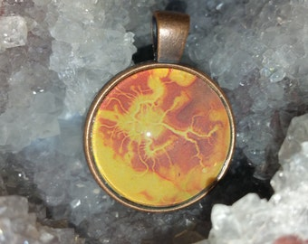 Orange Lightening Pendant Necklace