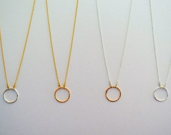 Handmade Single Circle Necklace- sterling silver and gold-filled, 16 inches- custom lengths available