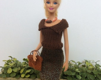 Barbie Doll Clothes, Knitted Top with Collar and Hombre Skirt, Handmade, Brown, Complete Barbie Outfit with Accessories Shown, Perfect Gift