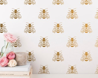 Bee Wall Decals - Gold Bee Wall Decal Set, Vinyl Wall Decals, Silver Decals, Bumble Bee Wall Stickers, Nursery Decals, Gold Vinyl Decals