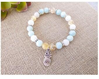 Pineapple Inspired Fertility Bracelet, Citrine, Moonstone, Amazonite, Pineapple Charm, TTC sister, infertilty