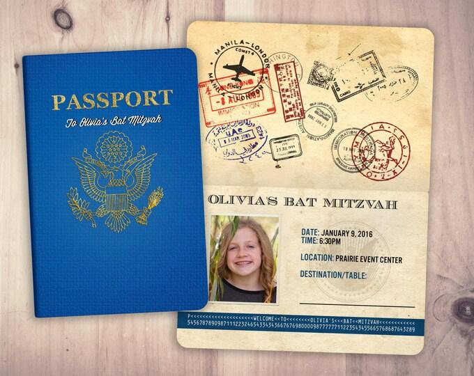 Bat Mitzvah, Bar Mitzvah, table numbers, party decor, invitation, travel, passport, destination, invite, birthday invitation
