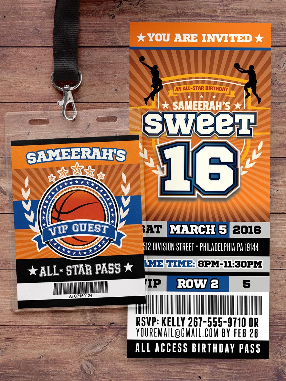 Basketball ticket Invitation All Star Birthday VIP pass – Vip Ticket Invitations