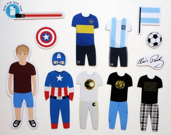 Custom Illustrated Fridge Magnets - Original Gift - Paper Doll - Toys and Games