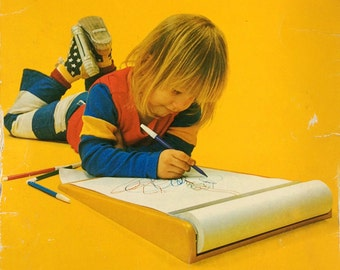 ROTRING YELLO. Yellow 1970s Design Drawing-Board For Kids. The Sunshine Sketcher.