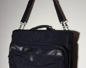 ON SALE- Hartmann Bifold Garment Bag Black Ballistic Nylon Luggage w/Shoulder Strap