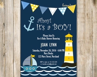 Navy Nautical Baby Shower Invitation, Ahoy It's A Boy Digital Invite, Navy Yellow Baby Boy Shower, Sailor Anchor Lighthouse, DIY Printable
