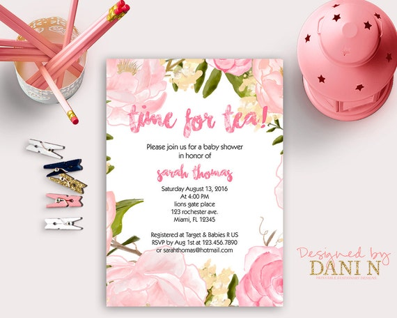 tea party baby shower invitation, floral tea party, girl baby, Baby shower