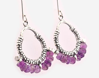 Sterling Silver Amethyst Earrings, Chandelier Earrings, Boho Jewellery, Dangle Earrings, Amethyst earrings, contemporary, gemstone earrings