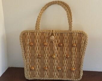 vintage Mid Century Wicker and Wood Bead basket weave handbag purse NEW