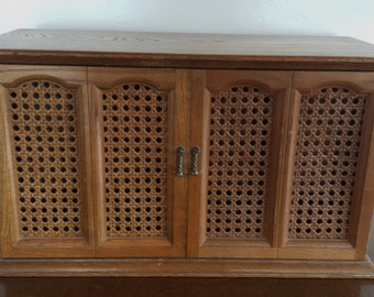 Mid Century Wood and Wicker Jewelry Box with pull out drawers