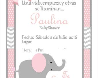 NEW!!!! Pink Elephant Baby Shower Invitation!!!!!