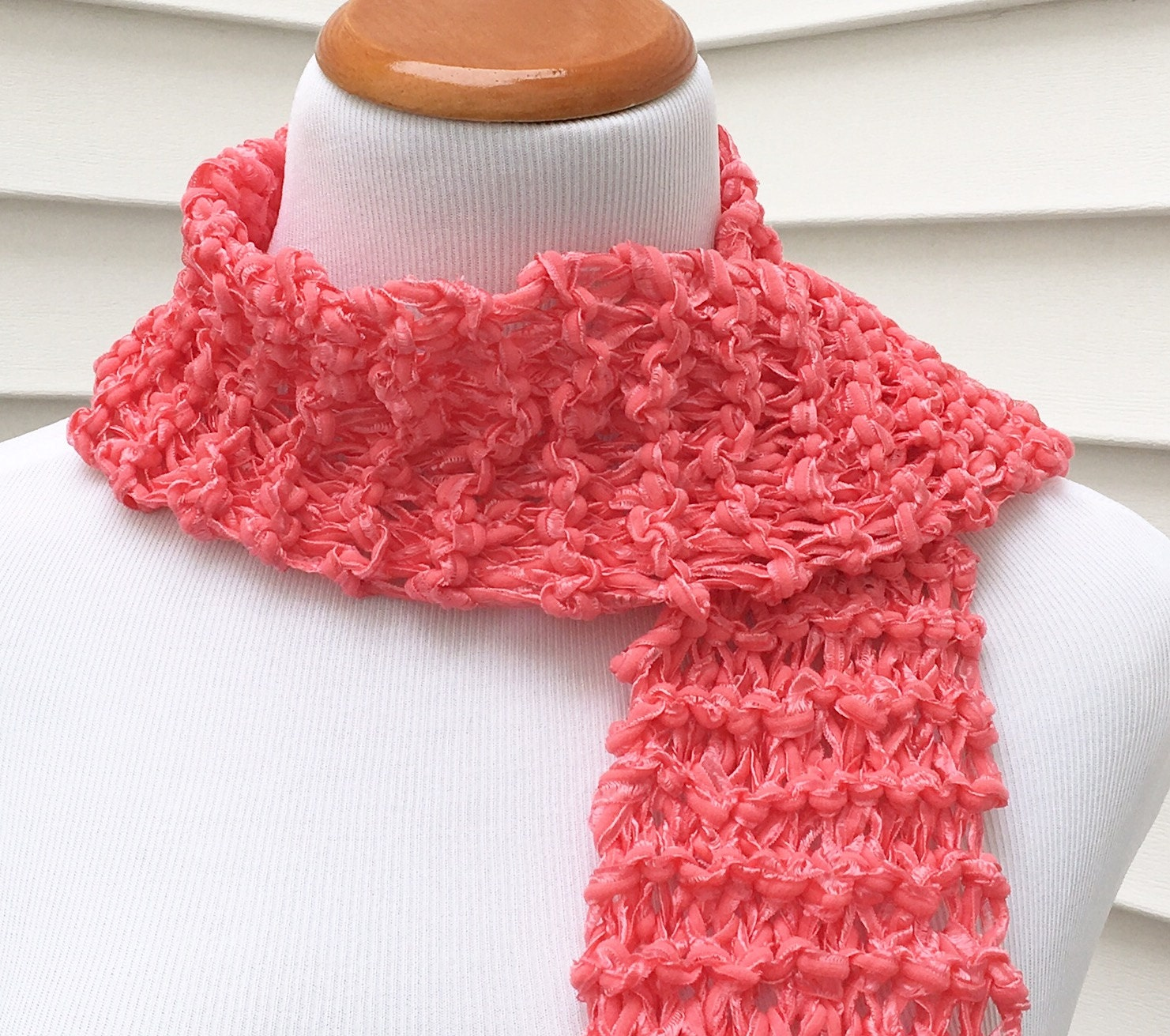 valentine scarf valentines day scarf easter scarf spring scarf holiday scarf pink scarf coral scarf ribbon