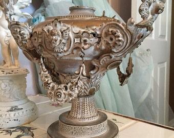 Vintage Metal Cherubs Old Lamp Base To Repurpose