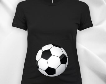 Soccer Belly Ladies Maternity scoop neck fine jersey tee, expecting mom, women's t-shirt, maternity tops,pregnancy t-shirt,soccer mom-CT-735