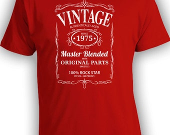 Vintage Whiskey Label Birthday Shirt Born 1975 - Celebrating 41th Birthday, Gifts for Him, Gifts for Grandpa, Gifts for Dad Bourbon CT-1064