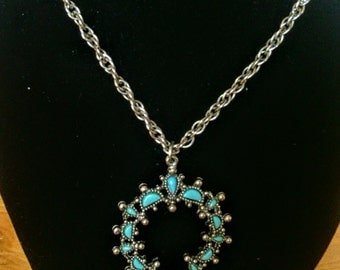Faux Turquoise Pendant Necklace