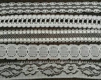 10 Yards Mix WHITE Lace Trim Embroidery Venise Lace Trim 1/2 Inch Wide