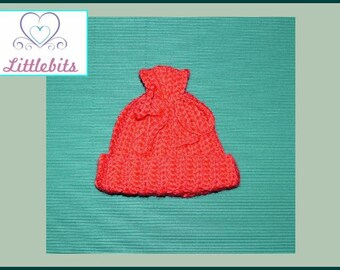Littlebits Newborn Baby Crocheted Red Christmas Drawstring Beanie -  Handcrafted & Sold in Australia