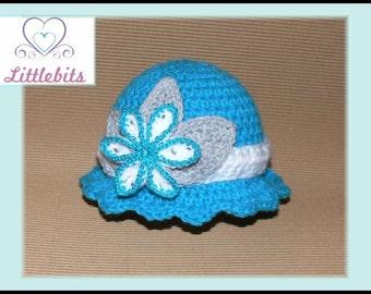 Littlebits Newborn Baby Crocheted  Aqua Blue Brimmed Hat with Flower n Leaf Embellishments -  Handcrafted in Australia RTS