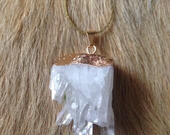 Gold Crystal Quartz Cluster Necklace