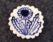 Dandelion porcelain ceramic lapel pin brooch