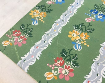 Antique French 1800s hand painted silk fabric draft floral esquise collector wallpaper vintage paper french ephemera interior decor