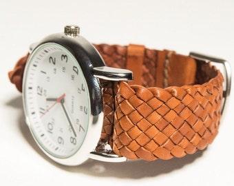 kangaroo leather watch strap braided one piece style
