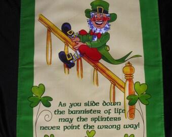 Vintage Tea Towel Dish Towel IRISH BLESSING Irish Leprechaun