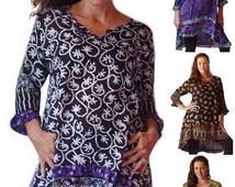 FEB SPECIAL 20% OFF H781 Ruffled Poncho Tunic Top Hi Lo Hem Bali Batik comb s m l xl 1x 2x 3x 4x 5x 6x Art to Wear Made to Order Choose Your