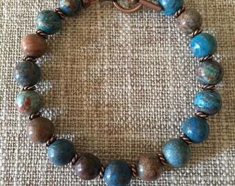 Bohemian Blue Sky Jasper Antique Copper Beaded Bracelet, Gift Ideas for Her, Healing Stones, Blue and Copper Bracelets, Jasper Bracelets