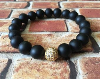 Matte Black Onyx Gold Shamballa Bracelet, Protection Bracelet, Unisex Bracelet, Wellness Bracelet, Gift Ideas, Gemstone Bracelet