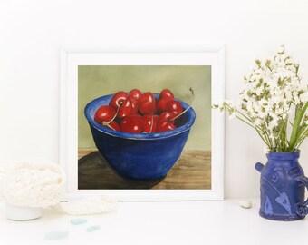 Cherry Painting - Fruit Watercolor - Bowl of Cherries - Original Art - Watercolor Print - Kitchen Wall Art - Fruit Art Print