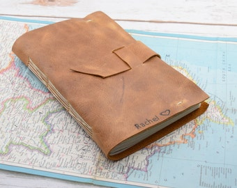 Handmade Leather Bound Journal - personalized travel journal - writing notebooks - art journals -Leather Diary - Anniversary Gift for Him