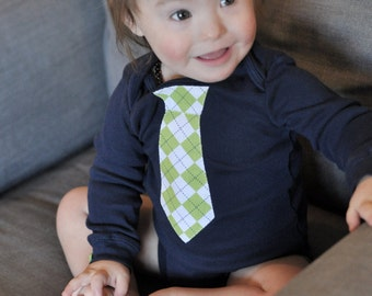 Cute Baby Boy Onesie - Tie applique (argyle pattern) on Carter's brand long-sleeved navy blue shirt with coordinating cufflink buttons