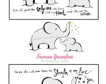 Elephant Love / custom baby print