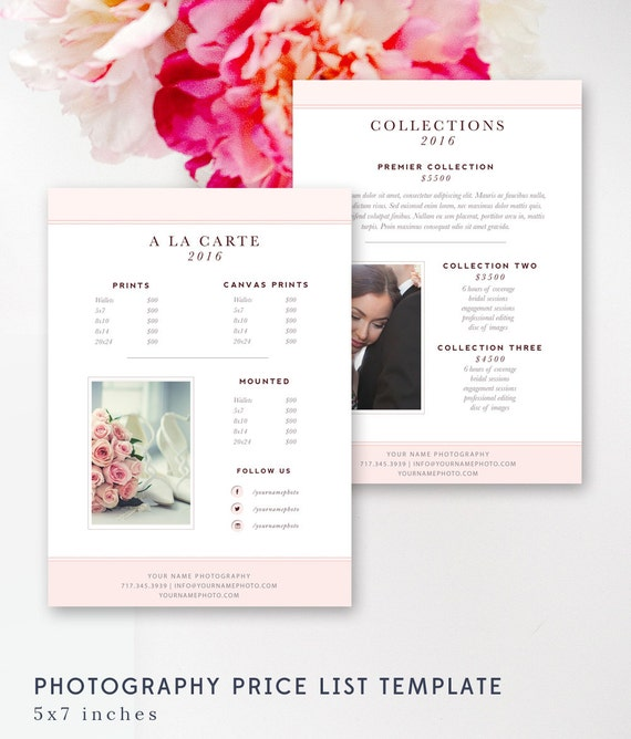 photography price list template pricing sheet guide wedding. Black Bedroom Furniture Sets. Home Design Ideas
