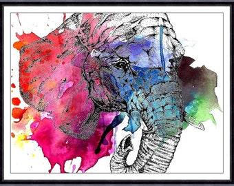 Elephant Watercolor art  - Watercolor Painting Art Print  - Fall home decor and wall art 126
