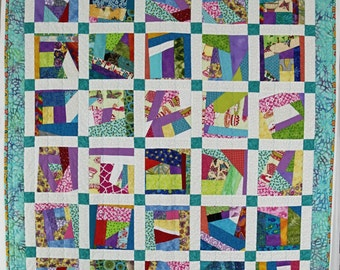 Modern Lap Quilt, Quilted Throw, Sofa Throw Blanket, Scrappy Floral Quilt,Aqua, Lavender and White Shabby Chic Quilt, Crazy Quilt, Handmade