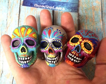 Day of the Dead - small sugar skull - Painted sugar skull - skull ornament - custom made - Dia de los Muertos - hand painted - Halloween dec